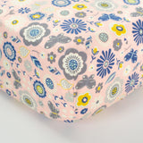Pink Fitted Crib Sheet with Navy & Grey Florals