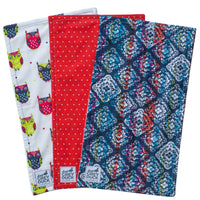 Red & Navy Polka Dots with Owls Burp Cloth Set