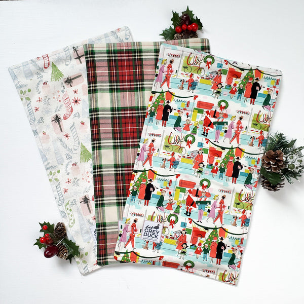 Christmas Vintage, Plaid, and Pastel Stocking Burp Cloth Set