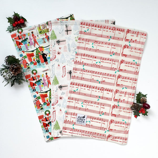 Christmas Vintage, Jingle Bell, & Stocking Burp Cloth Set