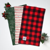 Christmas Jingle Bell & Plaid Burp Cloth Set
