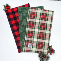 Christmas Plaid & Evergreen Burp Cloth Set