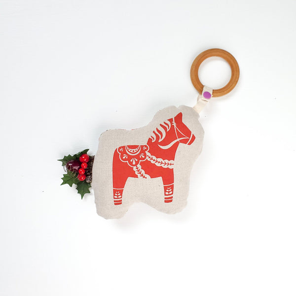 Jumbo Swedish Dala Horse & Vintage Teething Rattle