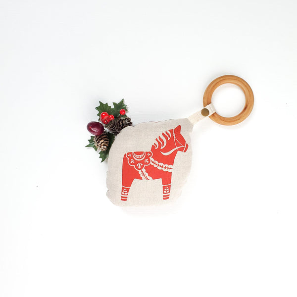 Small Christmas Swedish Dala Horse & Plaid Teething Rattle