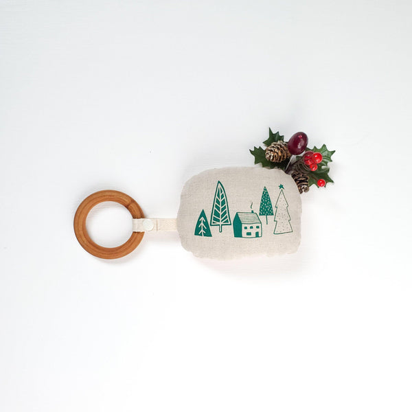 Small Cabin & Jingle Bell Teething Rattle