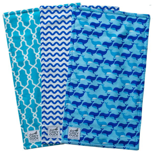 Blue Whale Burp Cloth Set