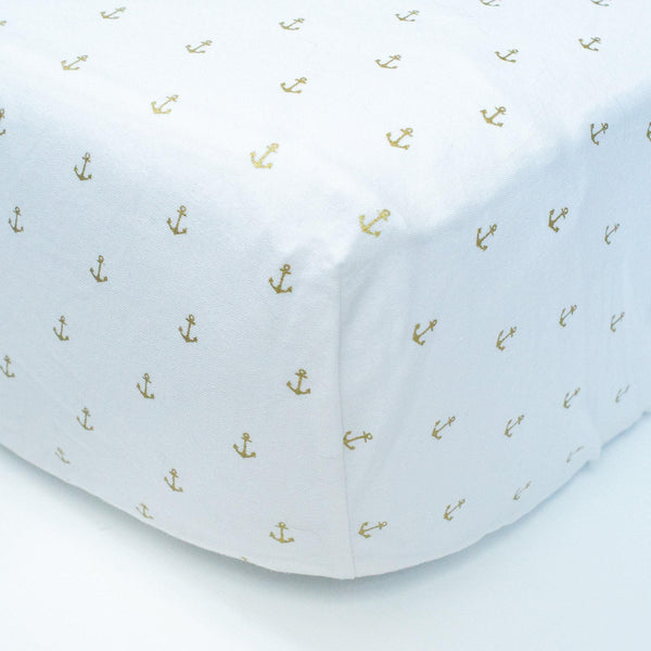 White Fitted Crib Sheet with Gold Anchors