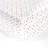 White Fitted Crib Sheet with Mini Triangles