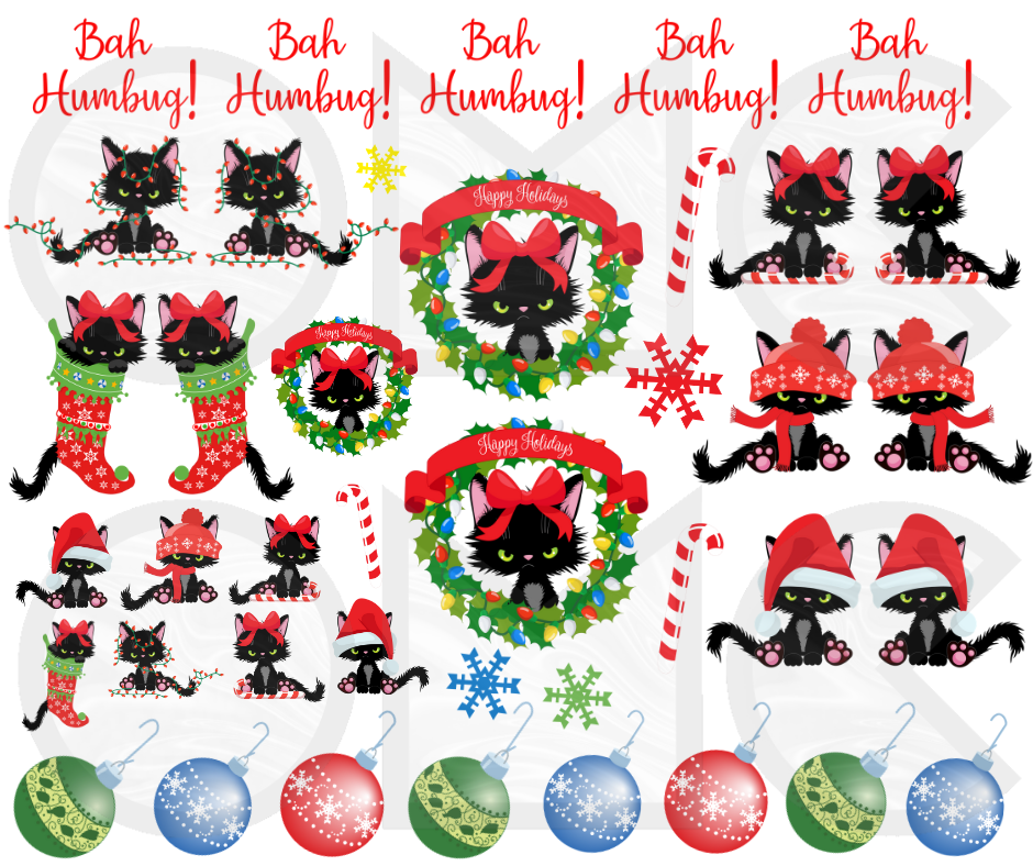 Water Decal - Grumpy Christmas Cat