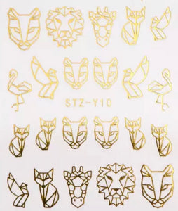 Water Decal - Gold Animals