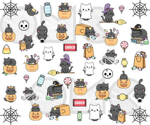 Water Decal - Halloween Kitties