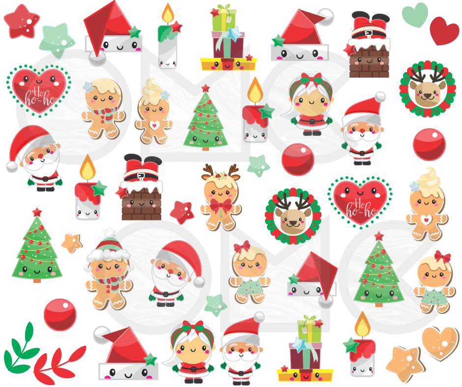 Water Decal - Kawaii Christmas