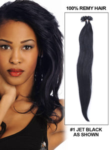 Jet Black(#1) Nail Tip Hair Extension 50 Strand 1G/Strand