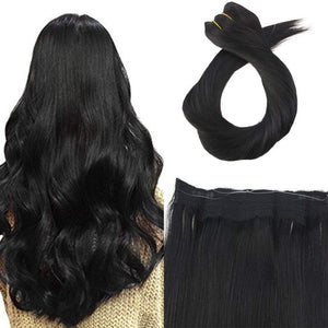 Jet Black(#1) Flip In Halo Hair 7A Grade Hair Extension