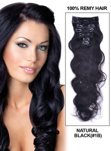 Natural Black(#1b) Body Wave 7 Piece Clip in hair Extension
