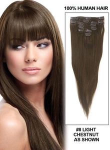 Ash Brown(#8) 7 Piece Clip in hair Extension