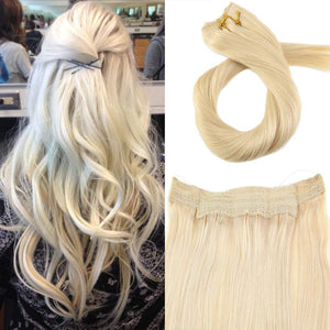 Bleach Blonde(613) Flip In Halo Hair 7A Grade Hair Extension