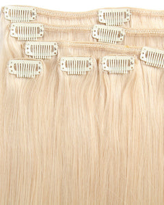 White Blonde(#60) 10 Piece Clip in hair Extension