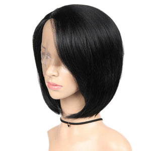 Short Straight Hair Side Part Lace Front High Density Black Wig