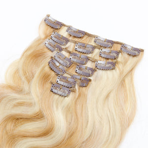 Blonde Highlight(#27/613) Body Wave 7 Piece Clip In hair Extension