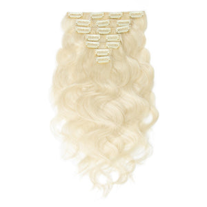 White Blonde(#60) Body Wave 10 Piece Clip in hair Extension