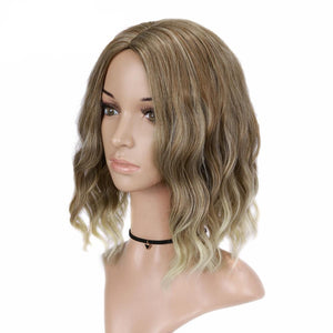Short Natural Wave Mixed Brown Blonde Wig