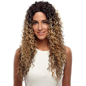 "26"" Deep Wave Lace Front Wig Ombre Color Hair"