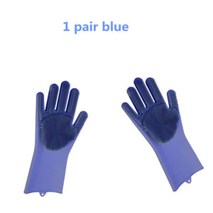 1 Pair Magic Silicone Rubbe Dish Washing Gloves Eco-Friendly Scrubber Cleaning For Multipurpose Kitchen Bed Bathroom Hair Care