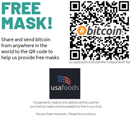 Send bitcoin to bc1qq9pla2lhc633hjdeh9f9z7u4tpay54luth7fpf to help us provide masks to all!