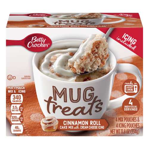 Betty Crocker Cinnamon Roll Cake Mix Mug Treats with Cream Cheese Icing
