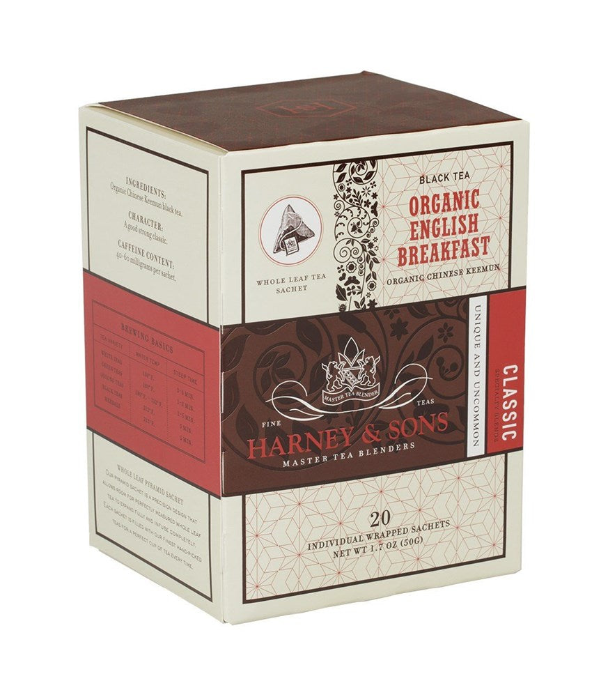 Harney & Sons Organic English Breakfast Wrapped Sachets Box 20ct