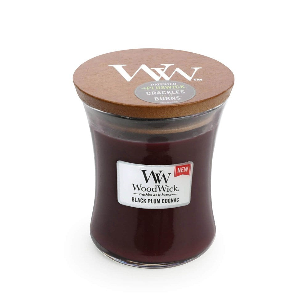WoodWick Black Plum Cognac Candle Medium