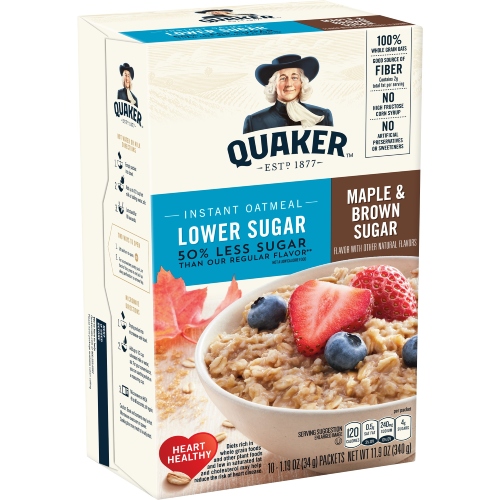 Quaker Lower Sugar Instant Oatmeal Maple and Brown Sugar