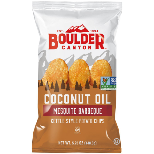 Boulder Canyon Coconut Oil Mesquite Barbecue Kettle Style Potato Chips 5.25oz