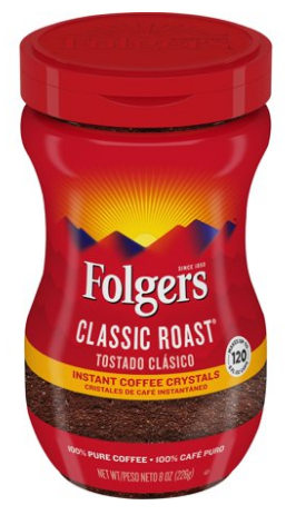Folgers Medium Classic Roast Instant Coffee Crystals