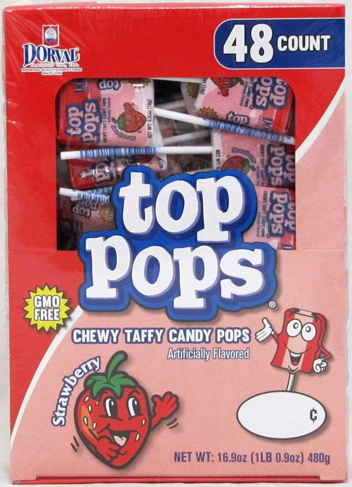 Top Pops Chewy Strawberry Taffy Candy Pops 48ct