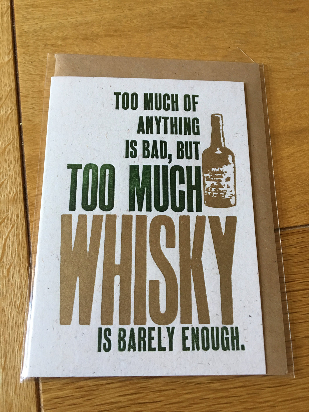 SmallPrint Company too much Whisky Card - Pressed Gang