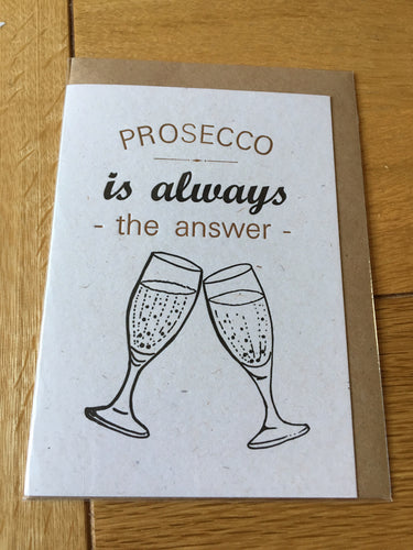 SmallPrint Company Prosecco is the answer card - Pressed Gang