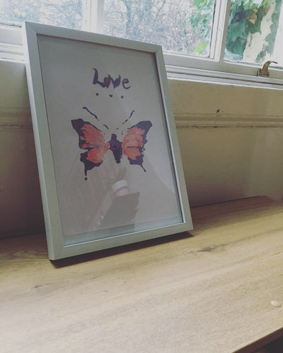 Pressed Gang - Butterfly love print A4 Framed - Pressed Gang