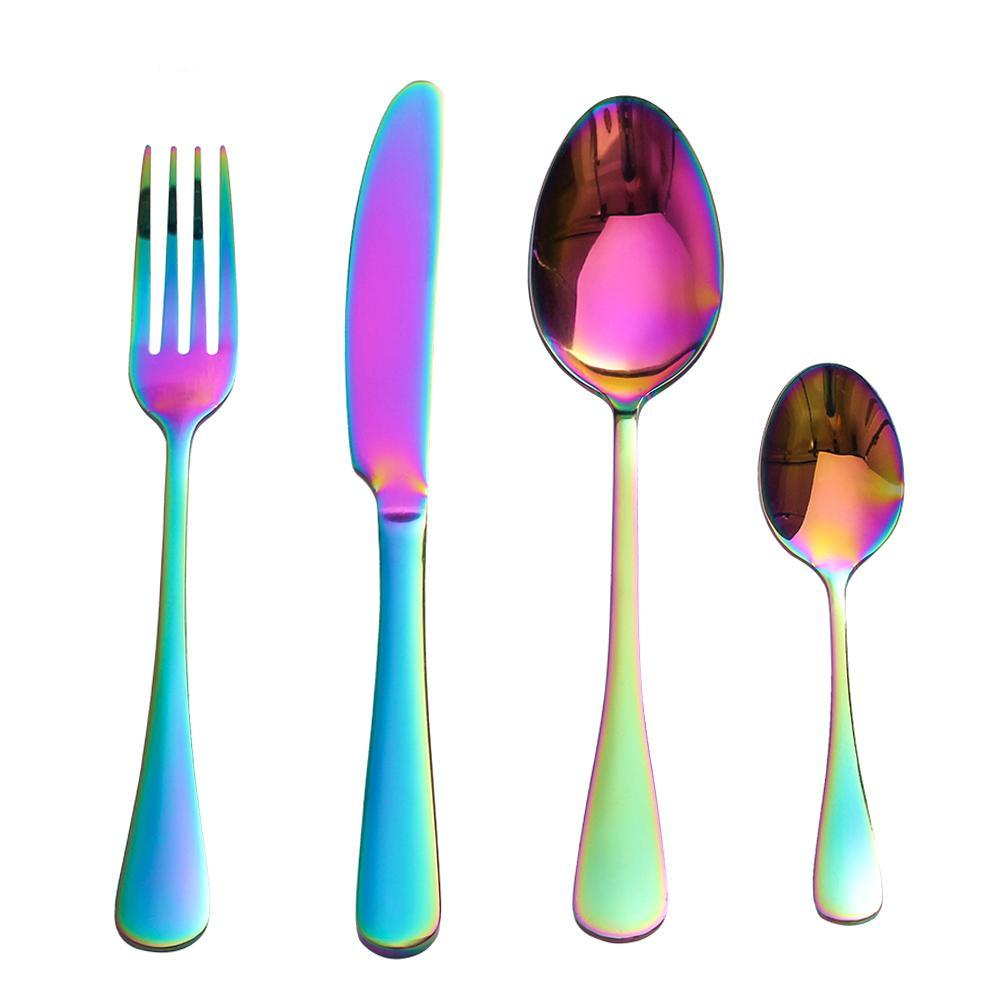 4-Piece Stainless Steel Rainbow Cutlery Set