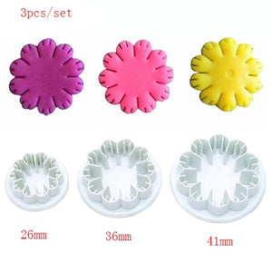 3Pcs/Set Silicone Hydrangea Fondant Cake Decorating SugarCraft Plunger Cutter Flower Blossom Mold Home Cake tools Free Shipping