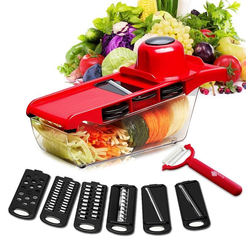 Multi-Blade Mandoline Slicer Set with Storage Container and Peeler