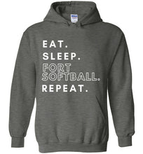 Load image into Gallery viewer, Eat. Sleep. Fort Softball. Repeat. Hoodie