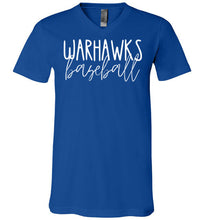 Load image into Gallery viewer, Warhawks Thin Script V-Neck Tee