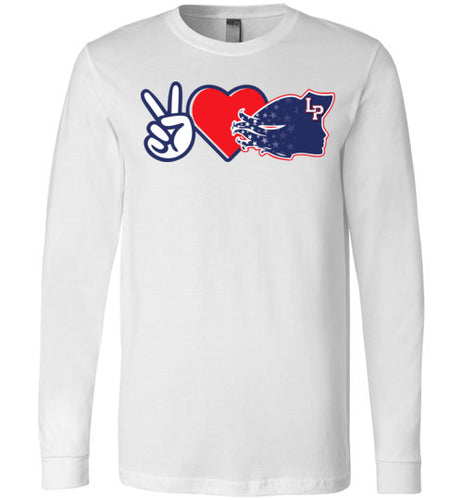 Peace Love Lady Patriots LS Tee