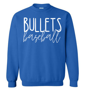 Bullets Baseball Thin Script Crewneck