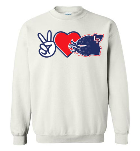 Peace Love Lady Patriots Crewneck