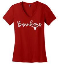 Load image into Gallery viewer, East Coast Bombers Script Ladies V-Neck Tee