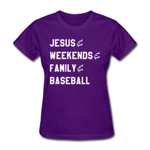 Load image into Gallery viewer, Jesus, Family, & Baseball Ladies' Tee - purple