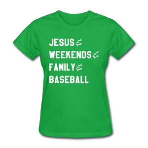 Jesus, Family, & Baseball Ladies' Tee - bright green